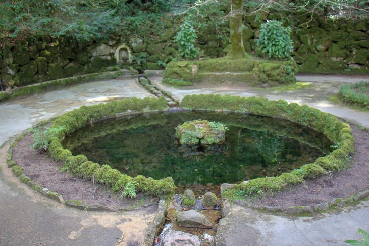 Lake of the Shell in Pena Palace Park in Sintra, Portugal