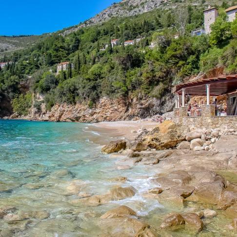 Rocky shoreline at Jacob's Beach in Dubrovnik, Croatia