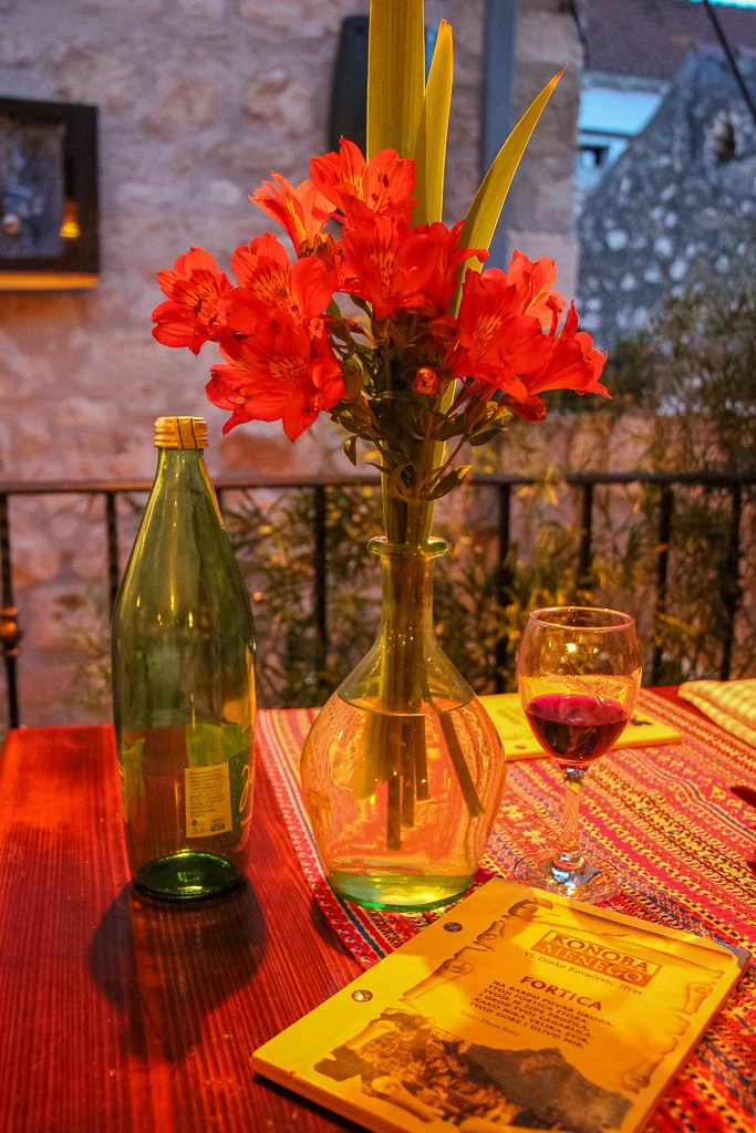 Table setting at Konoba Menego in Hvar Town, Hvar Island, Croatia