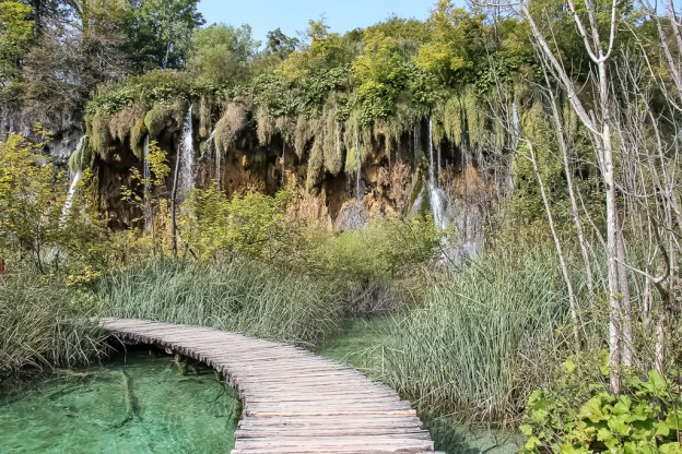 Wooden boardwalk through Plitvice Lakes National Park in Croatia