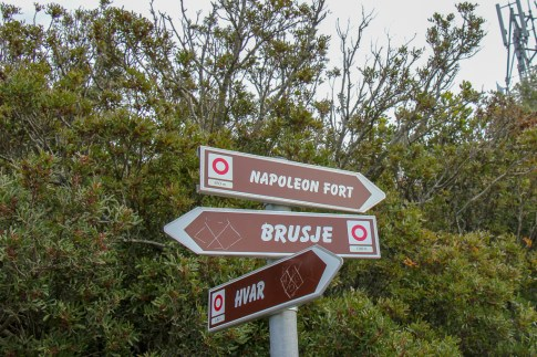 Hiking signs to Napoleon Fortress in Hvar, Croatia