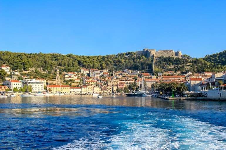 View of Hvar Town from the Adriatic Sea