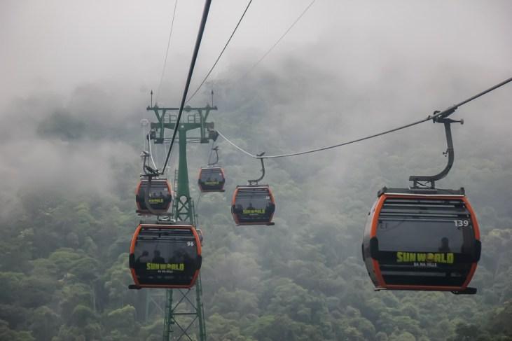 Cable cars in cloudy mountain in Ba Na Hills in Da Nang, Vietnam