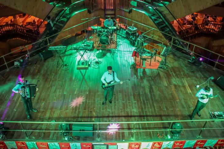 Live band performs on stage at Beer Plaza at Ba Na Hills in Da Nang, Vietnam