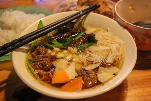Bowl of Bun Cha at Bun Cha Ta in Hanoi, Vietnam