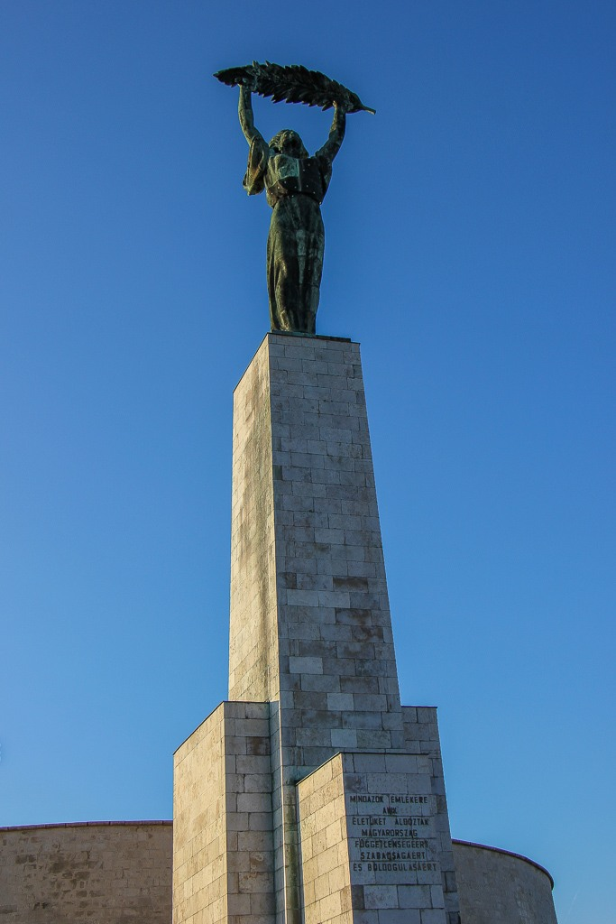 Liberty Statue under blue skies, Budapest, Hungary