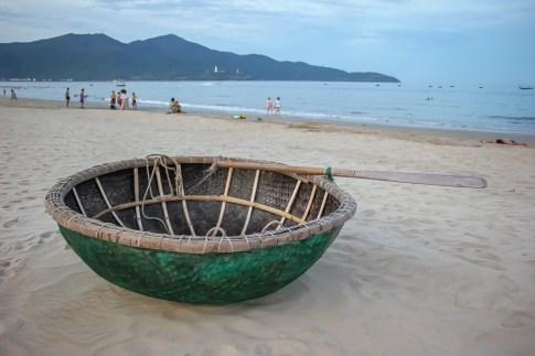 basket boat. Da Nang Beach, Vietnam