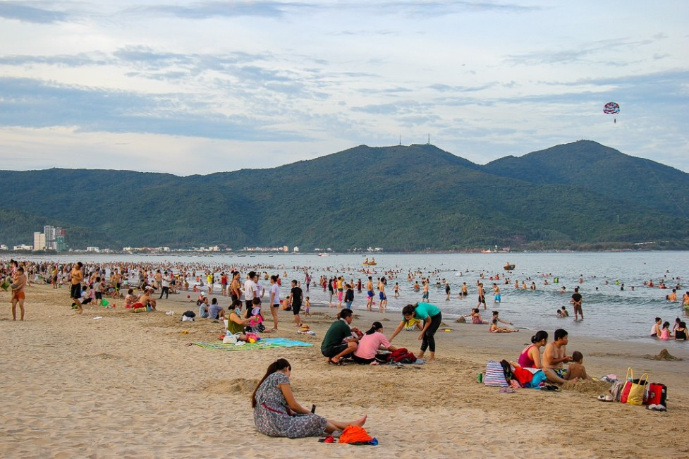 Crowded day at My Khe China Beach, Da Nang, Vietnam