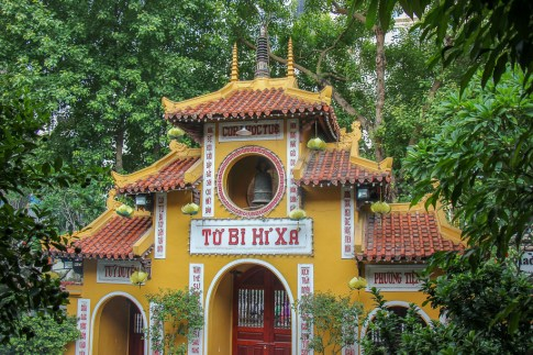 Yellow 15th century Quan Su Pagoda in Hanoi, Vietnam