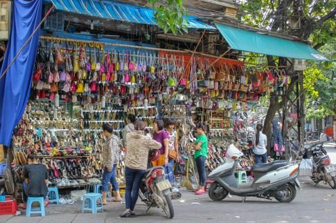 Shops in historic Old Quarter Hanoi, Vietnam