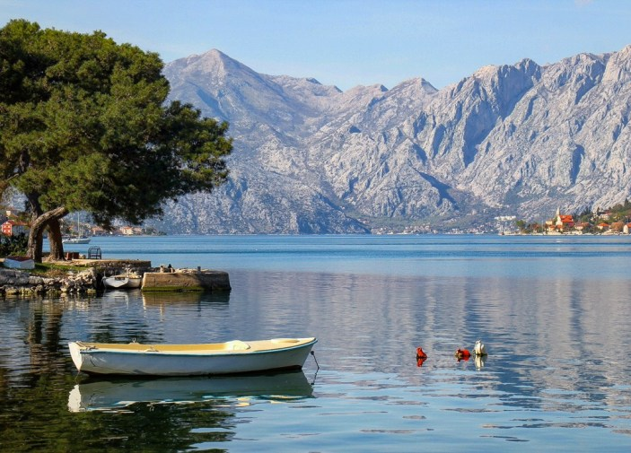 Boats on the Bay of Kotor, Montenegro