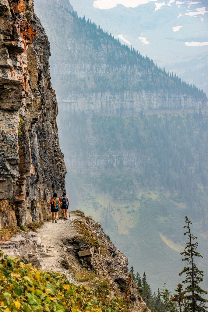 Close to the edge Highline Trail Hikers, Glacier National Park, Montana