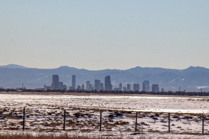 Rocky Mountains and Denver, Colorado Skyline