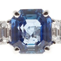 A Spectacular GIA Certified 6.05ct Natural Emerald Cut Sapphire Diamond Engagement Ring Platinum
