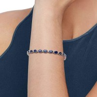 A Gorgeous Ross-Simons 12.00-14.00 ct. t.w. Sapphire and .29 ct. t.w. Diamond Bracelet in 14kt White Gold