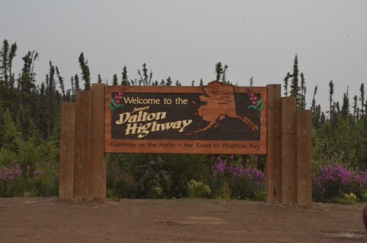 """The start of the Dalton Highway is marked by this sign, this is where the road turns from a paved country road into the gravel """"haul road"""" headed over 400 miles north to Prudhoe Bay."""