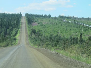 You can see that the pipeline and the road have parallel courses.