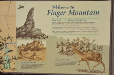 Finger rock is a prominent feature in the middle of a wide open area. Visible for miles in every direction. Finger mountain wayside is nearby and there is a nice little trail with interpretive signs.