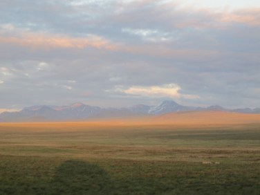 Looking out across the tundra. Any guess on how far away the mountains are?