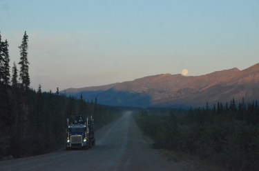 Truck and moon.