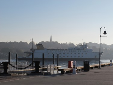 """Cross Sound Ferry heading out early morning. From the """"city pier"""" in front of the New London Rail Station."""