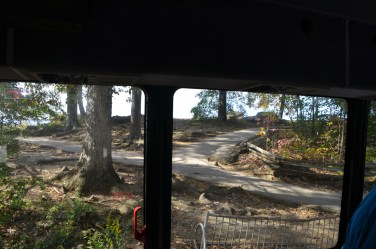 The back of Little Round Top from inside the bus.
