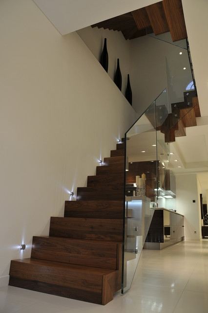 21 Beautiful Modern Glass Staircase Design   Modern Glass Staircase Design   Half Wall Glass   Marble Floor Glass   Modern Style   Stainless Steel   Stair Case