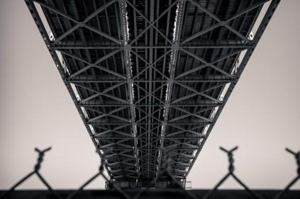 Undercarriage of Huey P. Long Bridge from below; west bank