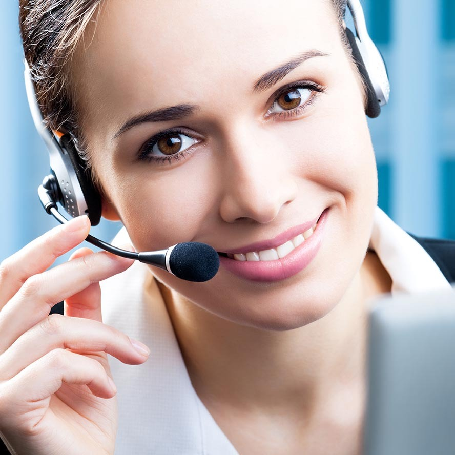 Portrait of happy smiling cheerful support phone operator in headset at office 72 ppi - Help Desk Support & Training Services