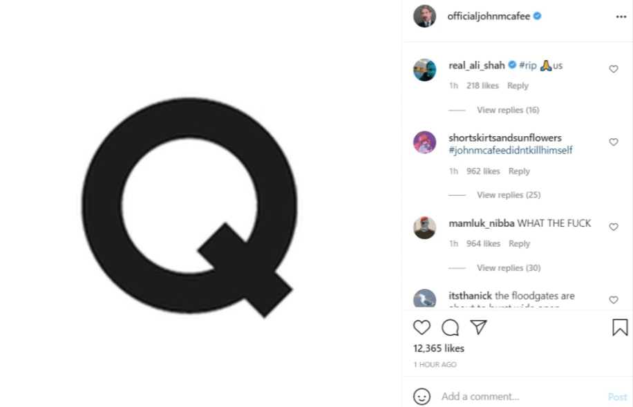 John McAfee's Instagram account posts mysterious 'Q' minutes AFTER his jail 'suicide' death is reported