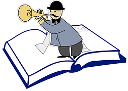 Drawing of a man in black hat blowing a horn and standing on an opened book to signify content.