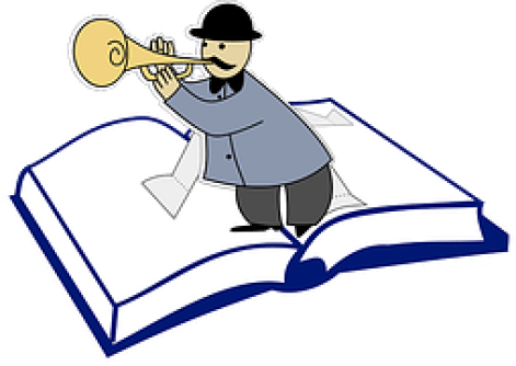 Drawing of a black hat wearing man blowing trumpet on an opened book to signify Content