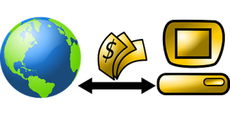 A diagrammatical representation of a Merchant account showing a globe on the left and dollars flying to and from a golden computer
