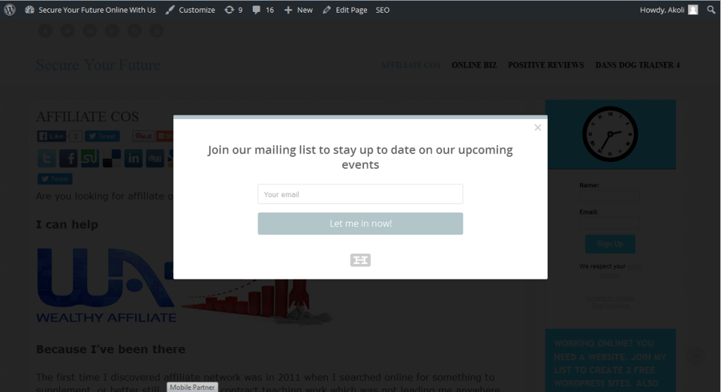 Signup form popup