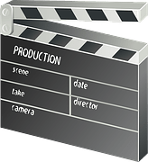 Clapper-board showing production details