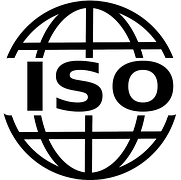 The ISO logo represented by a globe with ISO written across it.