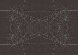 A series of white interconnected lines on a dark background to signify leads
