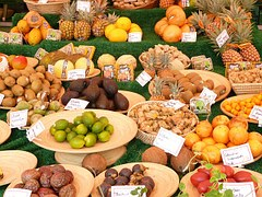Miscellaneous fruits on display in a market