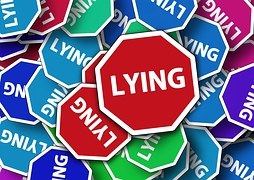 """Pentagonal road sign with white borders and a red center displaying the words """"Lying""""."""