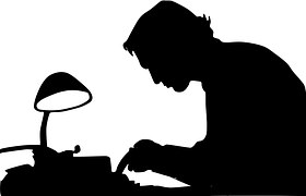 A shadow drawing of a writer, editor or proofreader