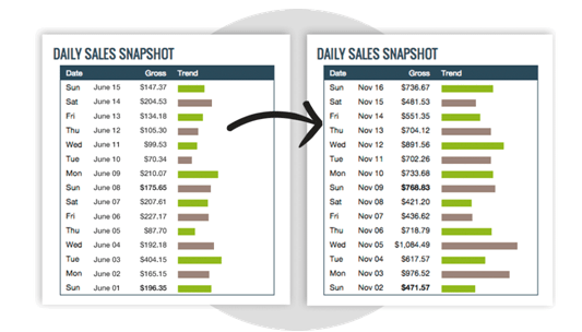 Snapshot of daily sales from Clickbank
