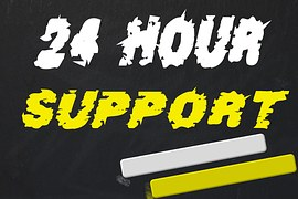 A dark background with 24 hours written in white and support in yellow