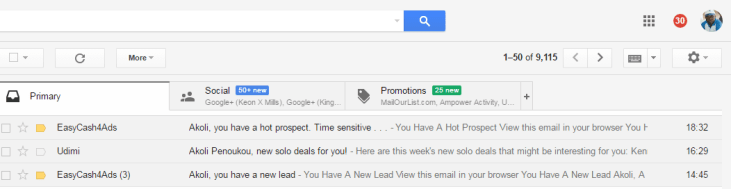 Email messages from my Gmail inbox showing my EashCash4Ads leads and prospects