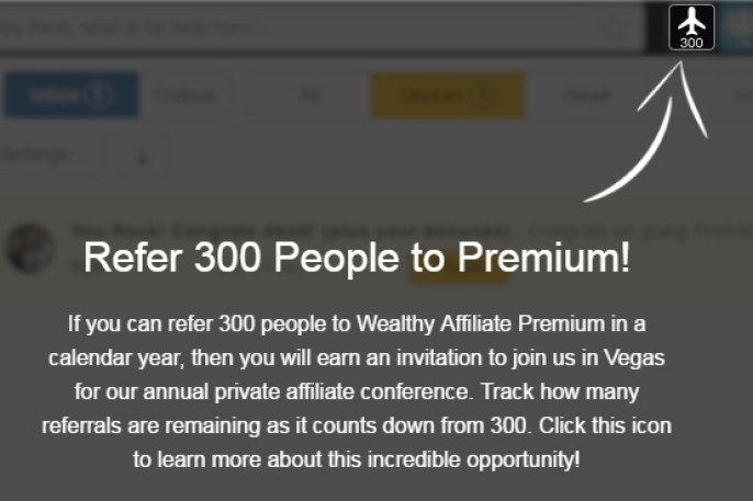 A white arrow pointing to the refer 300 people to premium icon