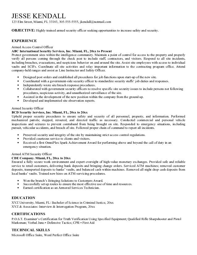 Sample Resume For Security Officer  Security Guards Companies