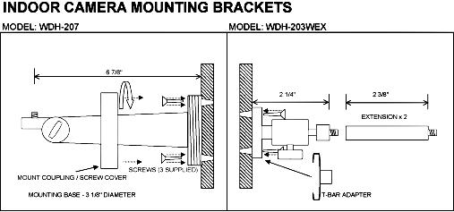 Camera & Housing Mounting Brackets : WDH-203WEX