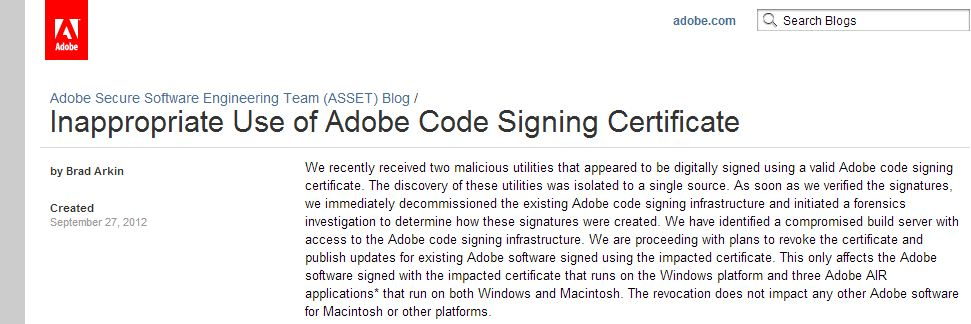 Adobe Code Signing Certificate used to sign malware, who to