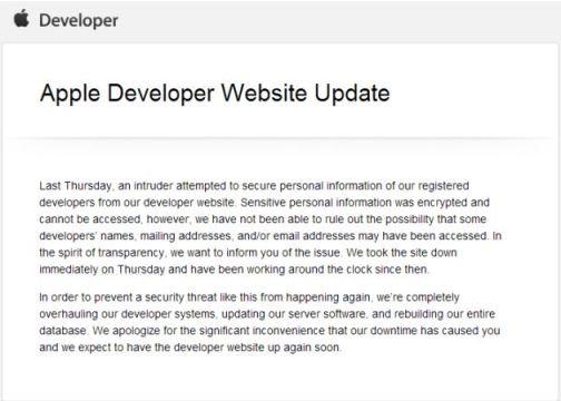 Apple iOS Developer Center data breach