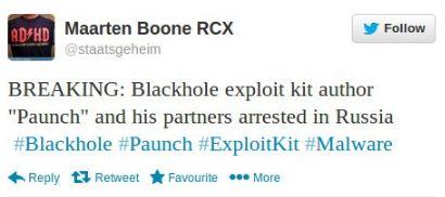 Blackhole author arrested