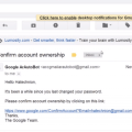 The google https page will ask the victim to confirm the ownership by